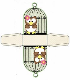 Owl Box in Cage for Free Print. Diy And Crafts, Crafts For Kids, Paper Crafts, Owl Box, Paper Box Template, Box Templates, Printable Box, Printables, Box Patterns