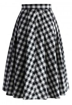 Classy Gingham A-line Midi Skirt - Retro, Indie and Unique Fashion