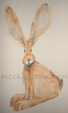Hugo the hare, one of my watercolours!