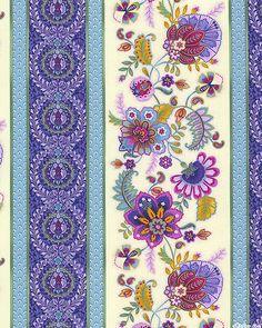 Cambria - Jacobean Floral Stripe - Vanilla Cream