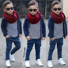 Minus the scarf. And slightly looser pants around the calfs Young Boys Fashion, Toddler Boy Fashion, Little Boy Fashion, Toddler Boy Outfits, Fashion Kids, Girl Fashion, Toddler Boy Haircuts, Outfits Niños, Fashion Outfits