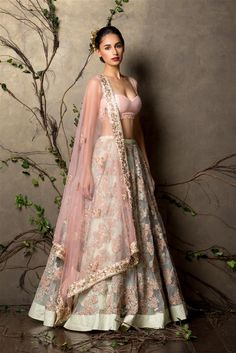 SHYAMAL & BHUMIKA A Little Romance Collection Pistachio Green Embroidered #Lehenga With Pink Embroidered #Blouse.
