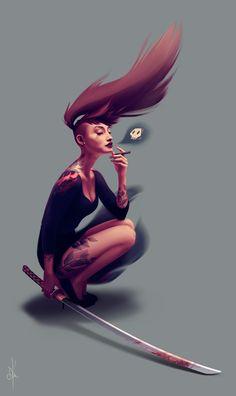 Yakuza girl digital painting oriane dirler d&d ideas illustr Character Design References, Character Art, Yakuza Girl, Animation 3d, Fantasy Women, Illustrations, Character Design Inspiration, Writing Inspiration, Female Art