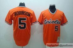 a3e7b6228 Mitchell and Ness Orioles  5 Brooks Robinson Embroidered Orange Throwback  MLB Jersey Mitchell And Ness
