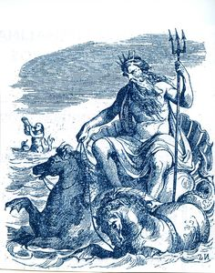 Poseidon with Triton blowing his shell in the background.