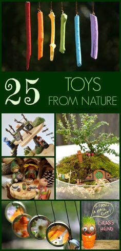 25 juguetes DIY de la naturaleza: una colección de ideas inspiradoras para los juguetes hechos a mano se puede construir para los niños a partir de materiales naturales