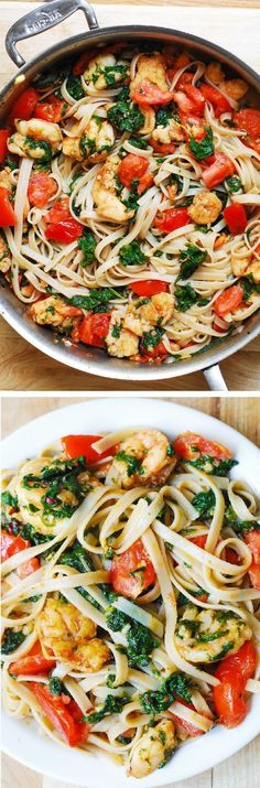 Shrimp, fresh tomatoes, and spinach with fettuccine pasta in garlic butter sauce. So refreshing, spicy, and Italian!: