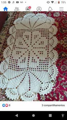 Crochet Bedspread, Crochet Doilies, Crochet Patterns Filet, Crochet Faces, Crochet Table Runner, Bohemian Rug, Blanket, Rugs, Knitting