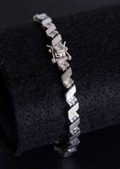 Sterling Silver Deco Crystal Link Bracelet by MayberryGraphics