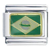 Pugster Flag Of Brazil Green Italian Charm