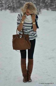 Perfect Winter Look: striped sweater, black skinnies, brown boots and bag, gold jewelry. <3 For this look with a slimming bonus, try Lisette Style 805 in black or dark brown. | winter style | comfy style | cozy style | perfect outfit