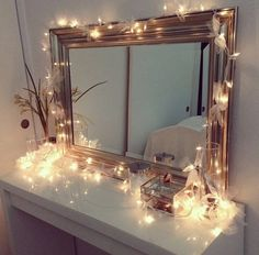 Ikea vanity with Christmas lights, decorated in ribbons! (M-I like the framed mirror. Simple but pretty. And IKEA vanity. My New Room, My Room, Rest Room, Girl Room, Ikea Vanity, Diy Vanity, Vanity Set, Vanity Ideas, Mirror Ideas
