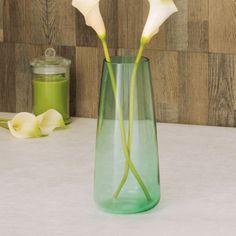 Eadric Ombre Glass Vase | Green | Glass 25.5 cm ht, 299 Home centre Vases, Glass Design, Decoration, Glass Vase, Bottle, Green, Centre, Planters, Decor