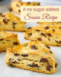 A versatile recipe for no sugar added scones, to which you can add dried fruits, nuts or even frozen berries to create many favourite versions. Diabetic Desserts, Sugar Free Desserts, Healthy Snacks For Diabetics, Sugar Free Recipes, Diabetic Recipes, Cooking Recipes, Diabetic Foods, Healthy Breakfasts, Vegetarian Cooking