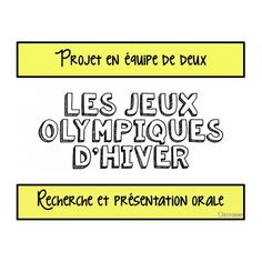 Projet sur les Jeux Olympiques d'hiver Elementary Teaching, Our Kids, Olympics, Classroom Ideas, School, Olympic Games, Art Projects, Words