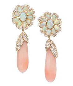 Cellini Jewelers Sutra Jewels Coral and Opal Flower Drop Earrings  The particular combination of gemstones utilized in this gorgeous pair, exhibit a fresh display of color. Composed of 46.11 carats of coral, 6.44 carats of opals, and 4.42 carats of diamonds, these earrings make for an elegant and gentle statement.