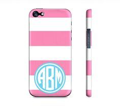 Personalized Pink & White Striped Monogram  Premium by SuprCases, $29.95