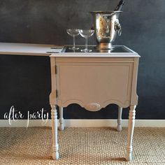 Sewing Machine Cabinet to Liquor Cabinet with Glass Top for Serving... | Hometalk
