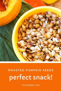 Don't let those delicious little pumpkin seeds in your pumpkins you plan to carve, go to waste. Instead put them to use for a healthy snack! Season them, roast them, they're easy to make! They turn into a delicious little fall snack that will get gobbled up by all. #pumpkins #pumpkinseeds #roastedpumpkinseeds #howtomakepumpkinseeds #saltysnack