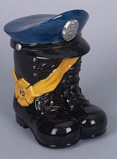 Police Boots Cookie Jar