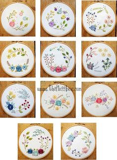 Floral Woven Wheels Embroidery Pattern Pack by Theflossbox on Etsy