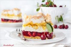 Ciasto Balladyna - I Love Bake Yummy Food, Tasty, Polish Recipes, Serving Dishes, A Food, Food Processor Recipes, Cheesecake, Cherry, Food Porn