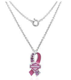 Harley Davidson® Womens Pink Pave Bar Shield Round Link Necklace HPN002 16 | eBay