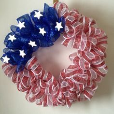 Patriotic Wreath Fourth of July Wreath Custom by LSummersBoutique