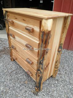 Aspen Log 4 Drawer Chest of Drawers  Old Farm Amish Furniture - Dayton, PA (814) 257-8911 oldfarmfurniture@aol.com Visit our Facebook Page
