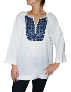 Charter Club Women's Three Quarter Sleeve Crochet Trim Linen Tunic, White, M #CharterClub #Tunic #Casual Linen Tunic, Crochet Trim, Embroidery Dress, Quarter Sleeve, Dress Up, Button Down Shirt, Tunic Tops, Passion, Club