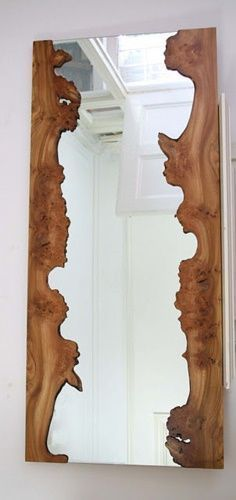 New Wood Frame Mirror Ideas Interior Design Ideas Rustic Mirrors, Wood Framed Mirror, Live Edge Furniture, Log Furniture, Live Edge Wood, Wood Design, Rustic Decor, Rustic Chic, Into The Woods