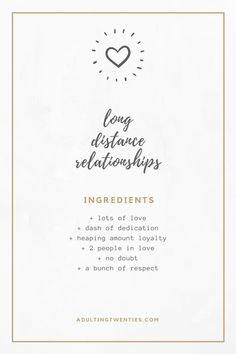 perfect recipe for long distance relationships