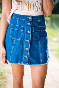 Button Me Down High Waist Denim Skirt