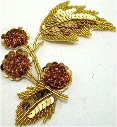 """Flower Single with Gold Sequins and Beads 5.5"""" x 6"""""""