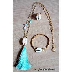 Parure Collier Bague et Bracelet Coquillages et pompon