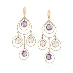 Ross-Simons - Italian 6.00 ct. t.w. Amethyst and Rose Quartz Chandelier Earrings in 14kt Yellow Gold - #875376