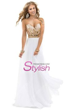 2014 New Arrival Prom Dresses A-Line Sweetheart Floor-Length Beaded Bodice Chiffon USD 139.99 STPFC2P9FH - StylishPromDress.com