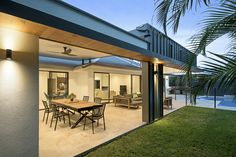 Our North Lakes entertainment area design resulted in a more open-planned approach to the living space at the rear of the home. Outdoor Living, Outdoor Decor, Outdoor Ideas, House And Home Magazine, Outdoor Entertaining, Living Spaces, Living Area, Design, Architecture