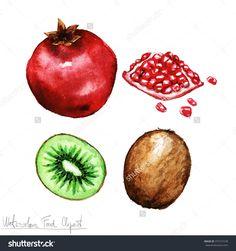 水彩食品剪纸艺术——石榴和猕猴桃-食品及饮料,物体-海洛创意(HelloRF)-Shutterstock中国独家合作伙伴-正版素材在线交易平台-站酷旗下品牌