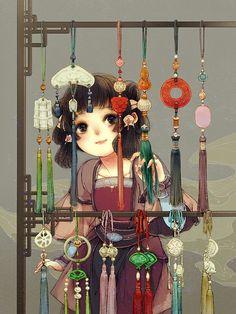 Hanfu and whatnot Chinese Drawings, Art Drawings, Anime Art Girl, Manga Art, Lolis Anime, China Art, Chinese Painting, Japanese Art, Art Reference