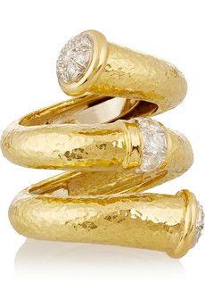 David Webb Double Tip Nail 18-karat gold, platinum and diamond ring   NET-A-PORTER