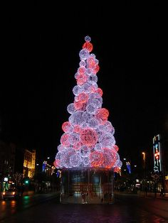 Christmas Tree in O'Connell Street, Dublin, Ireland