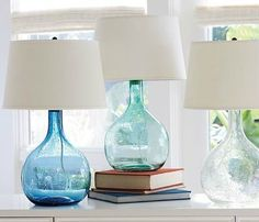 Sea Green and Blue Glass Table Lamps... http://www.beachblissdesigns.com/2016/09/sea-green-blue-glass-table-lamps.html Glass lamps that bring ocean hues to your home.