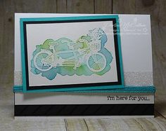 Stampin' Up! Pedal Pushers Card - www.dreamingaboutrubberstamps.com - a watercolor card made with the new Sale-a-bration Pedal Pusher stamp set and Metallic Glitter Tape from Stampin' Up!
