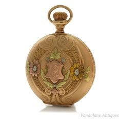Antique 14k 585 solid gold fancy pocket watch New Orleans solidarity case c.1905