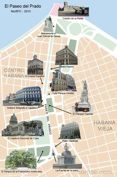 Mapa del Paseo del Prado en la Habana y los lugares de interés a su alrededor
