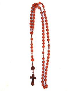 Prayer Beads Antique FRENCH ROSARY Large Carved Wooden Beads & Cross / Crucifix Monks Religious Wood Prayer Beads From Lourdes  This lovely