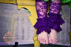 Double Ruffle Lace Legwarmers in Purple by ISADORAKIDS on Etsy, $18.00