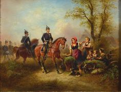 Wilhelm Alexander Meyerheim, 1815-1882, encounters of children and a soldier's horse, Oil / canvas, signed lower left, 32,5x42 cm, frame, this with minor damages