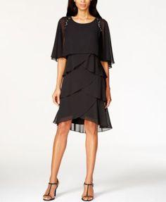 SL Fashions Beaded Tiered Capelet Dress | macys.com